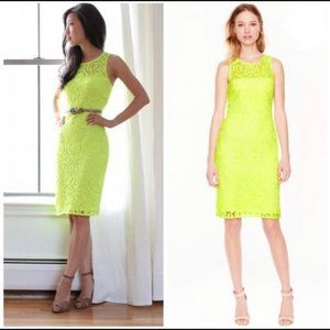 J. Crew Neon Lace Sheath Dress Sleeveless Yellow